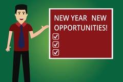 Wortschreibenstext neues Jahr-neue Gelegenheiten Geschäftskonzept für Neustart-Motivationsinspiration 365 Tagmann mit vektor abbildung