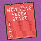 Wortschreibenstext neues Jahr-Neustart Geschäftskonzept für die Motivationsinspiration 365 Tage voll von den Gelegenheiten gezeic stock abbildung