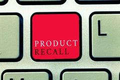 Wortschreibenstext Rückruf eines fehlerhaften Produktes Geschäftskonzept für Antrag durch eine Firma, das Produkt wegen irgendein stockbilder