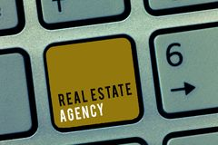 Wortschreibenstext Real Estate-Agentur Geschäftskonzept für Wirtschaftseinheit vereinbaren Verkaufs-Mietmiete handhaben Eigenscha stockbild