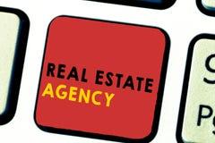 Wortschreibenstext Real Estate-Agentur Geschäftskonzept für Wirtschaftseinheit vereinbaren Verkaufs-Mietmiete handhaben Eigenscha stockfotos