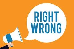 Wortschreibenstext Recht falsch Geschäftskonzept für beschließen zwischen zwei Entscheidungen, die korrekt sind und schlechtem, d stock abbildung
