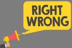 Wortschreibenstext Recht falsch Geschäftskonzept für beschließen zwischen zwei Entscheidungen, die korrekt sind und schlechtem, d vektor abbildung