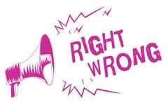 Wortschreibenstext Recht falsch Geschäftskonzept für beschließen zwischen zwei Entscheidungen, die korrekt sind und schlechtem, p stock abbildung
