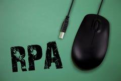 Wortschreibenstext Rpa Geschäftskonzept für den Gebrauch von Software mit künstlicher Intelligenz, grundlegende Aufgabe zu tun stockfotos
