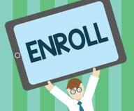 Wortschreibenstext schreiben ein Geschäftskonzept für offiziell registrieren als Mitglied der Institution oder des Studenten auf  lizenzfreie abbildung