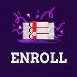 Wortschreibenstext schreiben ein Geschäftskonzept für offiziell registrieren als Mitglied der Institution oder des Studenten auf  stock abbildung