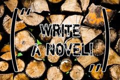 Wortschreibenstext schreiben einen Roman Geschäftskonzept für ist kreativ, etwas Literatur Erfindung, Wooden Autor zu stehen schr stockfoto