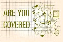 Wortschreibenstext sind Sie bedeckte Geschäftskonzept für das Fragen nach, wie Medikationen durch Ihren Plan abgedeckt werden stock abbildung