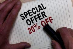 Wortschreibenstext Sonderangebot 20 weg Geschäftskonzept für Rabattförderung Verkäufe verkaufen Reichweitequerstation des Marketi Lizenzfreie Stockbilder