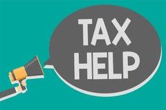 Wortschreibenstext Steuer-Hilfe Geschäftskonzept für Unterstützung vom obligatorischen Beitrag zum Staatseinnahmen Megaphon louds vektor abbildung