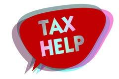 Wortschreibenstext Steuer-Hilfe Geschäftskonzept für Unterstützung vom obligatorischen Beitrag zur Staatseinnahmensprache-Blaseni lizenzfreie abbildung