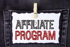 Wortschreibenstext Teilnehmer-Programm Geschäftskonzept für Software-Linklieder apps Bücher und verkaufen sie, um das Geld zu erw lizenzfreie stockbilder