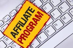 Wortschreibenstext Teilnehmer-Programm Geschäftskonzept für Software-Linklieder apps Bücher und verkaufen sie, um das Geld zu erw lizenzfreies stockbild
