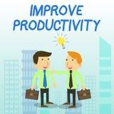 Wortschreibenstext verbessern Produktivit?t Geschäftskonzept für, zum der Maschine und der Prozess-Leistungsfähigkeit zwei zu erh stock abbildung