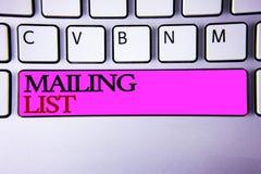 Wortschreibenstext Verteilerlisten-Geschäftskonzept für Namen und Adressen von Leuten werden Sie etwas senden Stockfotos