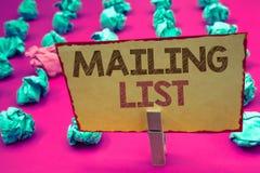 Wortschreibenstext Verteilerlisten-Geschäftskonzept für Namen und Adressen von Leuten werden Sie etwas senden Lizenzfreie Stockbilder