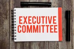Wortschreibenstext Vollzugsausschuß Geschäftskonzept für Gruppe ernannte Direktoren hat Ermächtigung in den Entscheidungen lizenzfreies stockbild