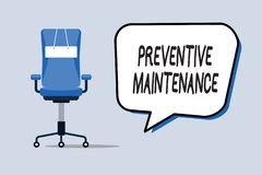 Wortschreibenstext vorbeugende Wartung Geschäftskonzept für Avoid Zusammenbruch erfolgt während noch arbeitende Maschine lizenzfreie abbildung