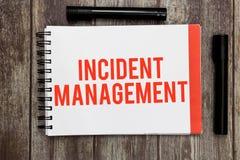 Wortschreibenstext Vorfall-Management Geschäftskonzept für Prozess zur Gegenleistung zu den normalen korrekten Gefahren lizenzfreie stockfotografie