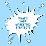 Wortschreibenstext, was S Ihr Marketing Strategyquestion ist Geschäftskonzept für Establish Ihr Werbungshalbton plan freien Raume lizenzfreie stockfotos