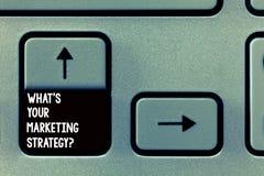 Wortschreibenstext, was S Ihr Marketing Strategyquestion ist Geschäftskonzept für Establish Ihr Werbungsplan lizenzfreies stockbild