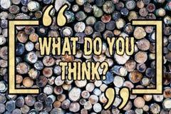 Wortschreibenstext, was Sie Thinkquestion tun Geschäftskonzept für Meinungs-Gefühle kommentieren die hölzerne Urteil-Überzeugung stockfoto