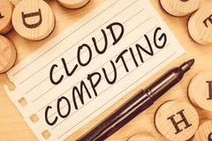 Wortschreibenstext Wolken-Datenverarbeitung Geschäftskonzept für Gebrauch ein Netz von den Fernservern im Internet bewirtet lizenzfreies stockbild