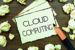 Wortschreibenstext Wolken-Datenverarbeitung Geschäftskonzept für Gebrauch ein Netz von den Fernservern im Internet bewirtet lizenzfreies stockfoto
