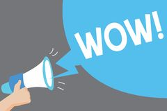 Wortschreibenstext wow Geschäftskonzept für sensationellen Erfolg beeindrucken und regen jemand Eilbewunderung auf vektor abbildung