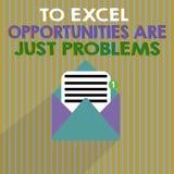 Wortschreibenstext zu Excel-Gelegenheiten sind gerade Probleme Geschäftskonzept für Kuschelecke-Furcht die Außenwelt stock abbildung