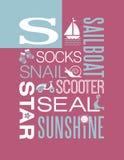 Worttypographieillustrationsalphabet-Plakatdesign des Buchstaben S Lizenzfreie Stockfotografie
