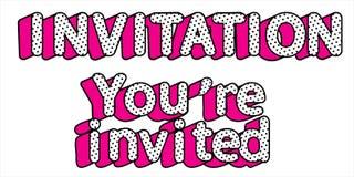 Wortvektor Einladung, werden Sie auf transparentem Hintergrund eingeladen Puppenpop-arten-Art lizenzfreie abbildung
