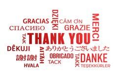 Wortwolke - danke - Rot Stockbild