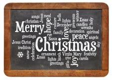 Wortwolke der frohen Weihnachten Stockbild