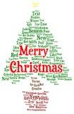 Wortwolke der frohen Weihnachten in einer Form eines Weihnachtsbaums Stockfotografie