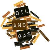 Wortwolke für Schmieröl und Gas Stockfoto