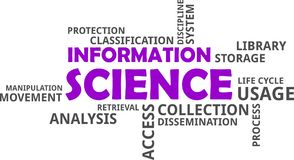 Wortwolke - Informationswissenschaft lizenzfreie stockfotos