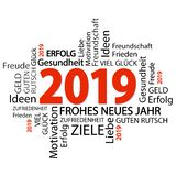 Wortwolke mit Grüßen des neuen Jahres 2019 vektor abbildung