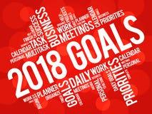 Wortwolke mit 2018 Zielen Lizenzfreie Stockbilder