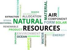 Wortwolke - natürliche Ressourcen Stockbild