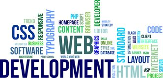 Wortwolke - Web-Entwicklung Lizenzfreies Stockfoto