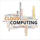 Wortwolke - Wolkendatenverarbeitung Stockfotos