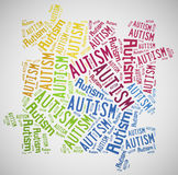 Wortwolken-Autismusbewusstsein bezogen Stockbild