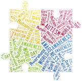 Wortwolken-Autismusbewusstsein bezogen Stockbilder