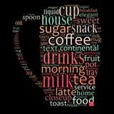 Wortwolkenillustration bezogen auf Kaffee Stockbild