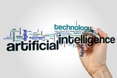 Wortwolkenkonzept der künstlichen Intelligenz auf grauem Hintergrund Lizenzfreie Stockfotografie