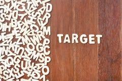 Wortziel gemacht mit hölzernen Buchstaben des Blockes Stockbilder