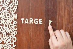 Wortziel gemacht mit hölzernen Buchstaben des Blockes Stockbild