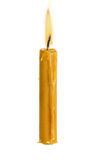 Wosk świeczka odizolowywająca na bielu Zdjęcie Royalty Free